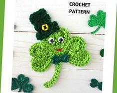 Crochet Shamrock pattern / Four leaf Clover St. Patricks Day | Etsy Free Crochet Snowflake Patterns, Crochet Snowflakes, Crochet Patterns, Crochet Hook Sizes, Crochet Hooks, Four Leaf Clover, Easy Crochet, Bellisima, St Patricks Day