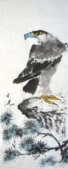 A Standing Eagle at the Top of the Mountain./ 高山雄鹰