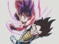 Goku vs Vegeta! Dibujo finalizado. Vaya, usar colores no es tan difícil como creí, jaja, hasta es más fácil que a lápiz, aunque no le puedo dar tantos detalles .-. pero supongo que el color lo compensa.