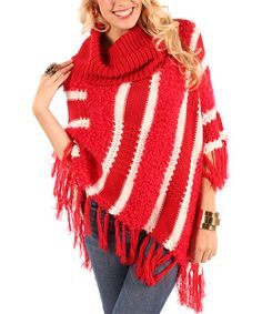 Take a look at this Red Stripe Cowl Neck Poncho by Lily on #zulily today!
