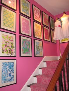 Inspiration for the bed, a pink bed spread with framed Lilly Pulitzer prints… Lilly Pulitzer Prints, Lily Pulitzer, Pink Bedding, Cool Apartments, Pink Walls, Little Girl Rooms, Up Girl, Modern Room, Pink And Green