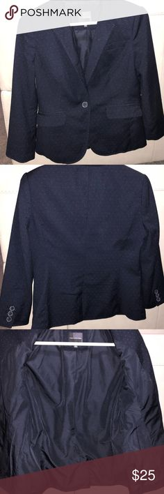 Perfect Spring Blazer from The Limited Awesome little navy blue blazer. Tiny white polka dots, 3/4 Sleeves, fully lined. Size Small. Used but still in good condition. This jacket does have a couple light discoloration marks that were very hard to photograph but I tried my best! Hardly noticeable unless you're examining the jacket and could also potentially come off after dry cleaning. Bundle to save and I'll send you a private discount!! The Limited Jackets & Coats Blazers