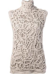 Brunello Cucinelli Crochet Blouse in Beige (nude & neutrals)   Lyst