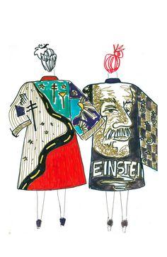 Highway and Einstein Kimonos Fashion Illustration via Etsy