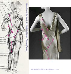 Vionnet thought seams should follow the lines of our musculature. Anatomical drawing by Hugh Laidman, Vionnet gown photo: Metropolitan Museum.