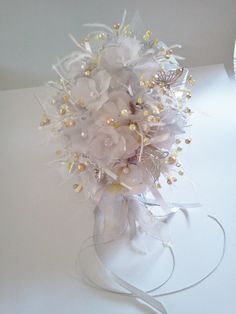 butterfly bouqet | Lemon and Silver Butterfly Beaded Bouquet