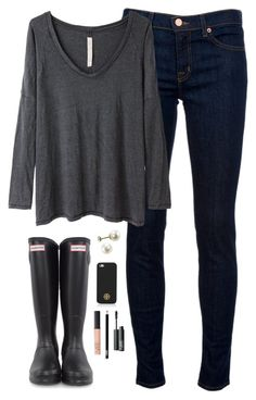 """""""black & grey"""" by classically-preppy ❤ liked on Polyvore featuring J Brand, Raquel Allegra, Hunter, Tory Burch and NARS Cosmetics"""