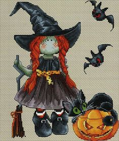 La Sorciere (Witch) - cross stitch pattern by Les Petites Croix de Lucie - A special picture for Halloween of a little witch doll with pumpkin, cat and bats. Quilt Stitching, Cross Stitching, Cross Stitch Embroidery, Moldes Halloween, Halloween Quilts, Cross Stitch Designs, Cross Stitch Patterns, Couture Pour Halloween, Fall Cross Stitch