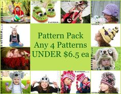 Four PDF Patterns Pack - Your Choice Any Crochet or Knit Patterns *  $20.00 CAD    Pack of 4 PDF Patterns -