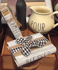 Paint old books - April 21 2019 at Old Book Crafts, Wood Crafts, Diy Crafts, Paper Crafts, Farmhouse Books, Farmhouse Decor, Modern Farmhouse, White Farmhouse, Rustic Books