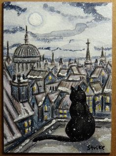 ACEO TW DEC Winter In London Black Cat  Rooftops Snowing Original by STRIKE #Miniature #aceo