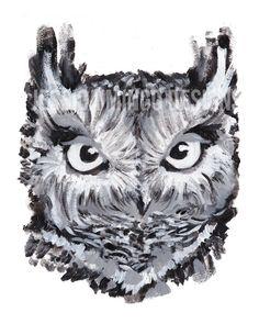 Owl Print,  Owl Realistic Print, Realistic owl, blue owl, owl art print, owl illustration, barn owl art, barn owl print, owl statement piece