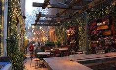 String lighting and plants. I want this in my outdoor dining space.