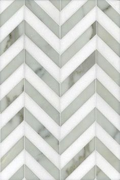 Never been a fan of backsplash but this could work! Maharajah Stripe by Studium, a chevron design in Calacatta Tia and Thassos. Beautiful for a kitchen backsplash. Tuile Chevron, Chevron Tile, Herringbone Tile, Chevron Bathroom, Grey Chevron, Chevron Floor, Gray, Veranda Interiors, Br House