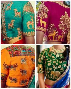 Beautiful Animal and bird motif blouse designs Pattu Saree Blouse Designs, Bridal Blouse Designs, Blouse Neck Designs, Blouse Styles, Latest Maggam Work Blouses, Maggam Work Designs, Indian Designer Wear, Clothes For Women, Embroidery Blouses
