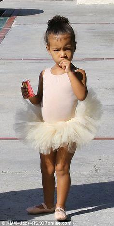 Prima ballerina! North wore an oh-so-cute cream leotard and tutu for her dance class...