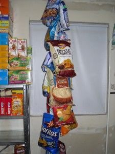 chip or other bag storage (like they do in the stores) using chain and hooks or clothes pins
