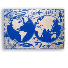 Airplanes Space The World for Your Nursery - Flying Around the World - Large print on Wood. $278.00, via Etsy.