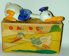 "Walt Disney ""Donald Duck Celluloid Wind-Up Swimming Donald"" c1930s. Japan In Original Box."