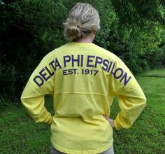 Spirit Jersey - Delta Phi Epsilon-Yellow...  also available in purple with white.... no bulk order necessary #dphie #spiritjersey