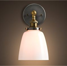 RH's 20th C. Factory Filament Milk Glass Cloche Sconce: Master bath