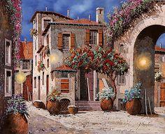 Tre Luci Al Crepuscolo Art Print by Guido Borelli. Hacienda Decor, Drawings Pinterest, Snake Art, Photo Transfer, Italian Artist, Modern Landscaping, Art Challenge, Art Pages, Urban Art