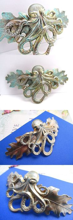 Hair Jewelry 164351: Octopus Barrette Octopus Barrettes For Thick Hair Steam Punk Hair Clips BUY IT NOW ONLY: $35.0