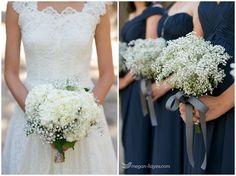 Baby's Breath and Hydrangea boquets at Hidden Creek.  Pine Rose Weddings   I  Megan-Hayes Photography   I  Lake Arrowhead outdoor wedding venue