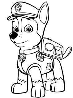 Paw Patrol Chase coloring page. Free coloring pages in . Frozen Coloring Pages, Monster Coloring Pages, Spring Coloring Pages, Cool Coloring Pages, Coloring Pages To Print, Free Coloring, Coloring Sheets, Coloring Books, Coloring Stuff