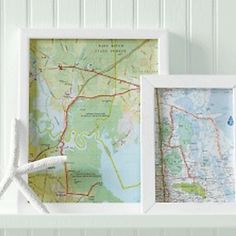 DIY map art work; great idea to plot out our trip this summer