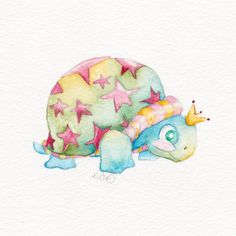 Baby Art  Cute Turtle Original Watercolor by BrilliantCritter, $50.00