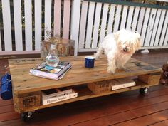 DIY Pallet Coffee Table with hooks for Cups and 1 cute dog.