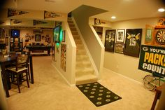My Packers Man Cave aka The Drew Cave aka Packer Heaven! My Packers Man Cave aka The Drew Cave aka Packer Heaven! Football Man Cave, Sports Man Cave, Cave Bar, Man Cave Home Bar, Man Cave Basement, Man Cave Garage, Mini Man Cave Ideas, Ultimate Man Cave, Man Cave Diy