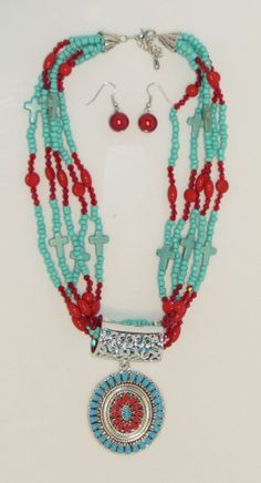 Cowgirl Bling Indian Native Turquoise Coral beaded cross Gypsy necklace set #roro  99CENT AUCTION!