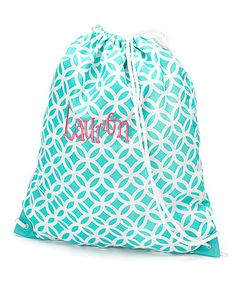This Aqua Sadie Personalized Drawstring Backpack by Star Designs Studio is perfect! #zulilyfinds