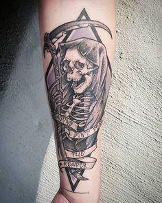 Reaper tattoo by Rocio Todisco, done in Johannesburg at the Black Lodge Blue Oyster Cult, Reaper Tattoo, Tattoos, Fun, Black, Instagram, Tatuajes, Black People, Tattoo