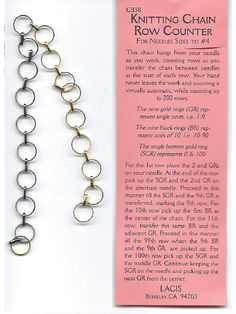 CB38 -  No Hands Knitting Chain Row Counter. $14.99, via Etsy.  Made myself in 10 minutes. LOVE!