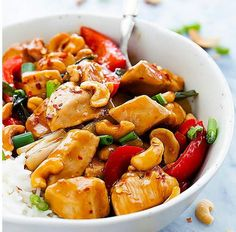 Healthier Slow Cooker Kung Pao Chicken- Make this for your next Chinese night!