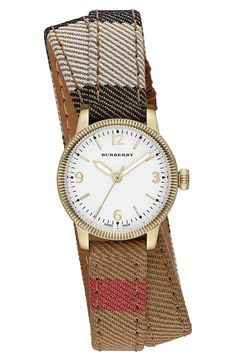 Nice! This Burberry 'Utilitarian' round check wrap watch is perfect for a stacked wrist.