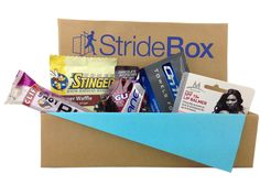 Stridebox monthly subscription for runners & athletes with samples of performance products.