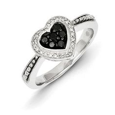 1/4 Carat Black White Diamond Heart Ring In Sterling Silver Available Exclusively at Gemologica.com