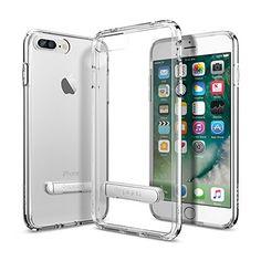 iPhone 7 Plus Case, Spigen [Ultra Hybrid S] Metal Kickstand [Crystal Clear] Clear back panel + TPU bumper for iPhone 7 Plus – (043CS20754)