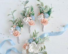 Wrist corsage Bridesmaids corsage Blue white wedding Corsage wedding Wedding corsages Bridal co Blue Corsage, Bridesmaid Corsage, Corsage And Boutonniere, Corsage Wedding, Wrist Corsage, Wedding Bouquets, Blue And Blush Wedding, Baby Blue Weddings, Blue White Weddings