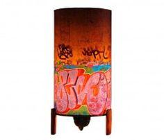 Brooklyn Graffiti - Street Art Atmospheric Lamp [Hand Crafted] - Wood Base