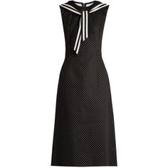 Dolce & Gabbana Sailor-collar polka-dot print drill dress (€1.355) ❤ liked on Polyvore featuring dresses, black white, black and white fit and flare dress, white and black polka dot dress, dolce gabbana dress, fit flare dress and collar dress