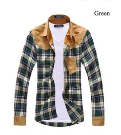 men's+vintage+plaid+long+sleeve+splicing+patch+shirts+for+men+high+quality+cotton+shirts  Material:+cotton,+spandex,polyester  Please+check+size+carefully.+It+ASIAN+size+more+smaller+than+us,eu.  3+color+available