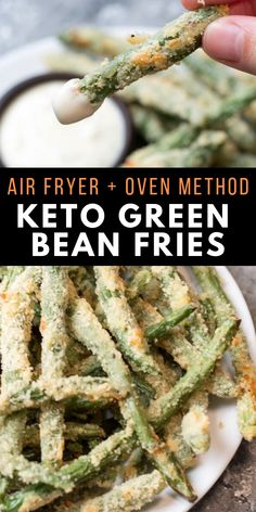 Keto Green Bean Fries (air fryer and oven) Try these low carb Crispy Green Bean Fries perfect for a game day snack! You can make these keto fries in the oven or air fryer! About 5 net carbs per serving and packed with flavor! Air Fryer Recipes Low Carb, Air Fryer Dinner Recipes, Recipes Dinner, Dinner Dishes, Crispy Green Beans, Air Fried Green Beans, Plats Weight Watchers, Air Frier Recipes, Keto Side Dishes