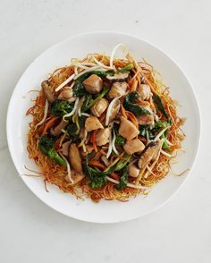 Yes, you can make this takeout classic at home! It's as easy as stir-frying noodles, vegetables, and chicken. Serveimmediately so the noodles stay nice and crispy.
