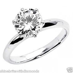 4 Ct Round Cut Solitaire Engagement Wedding Promise Ring Solid 14K White Gold