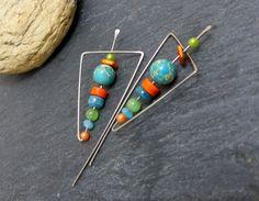 Boucles d'oreilles modernes bleu orange, pierre et acier chirurgical (BO41)